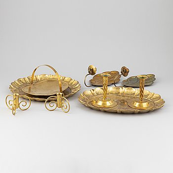 Lars Holmström, three brass trays, two pairs of candle holders and a pair of sconces, Firma LArs Holmström, Arvika.