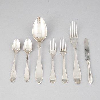 Bestickservisdelar, 29 st, silver, mestadels svensk spets, bl a GAB, Stockholm 1924.