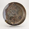 Carl cunningham-cole, a signed and dated stoneware plate 1974.