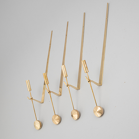 Pierre forsell, four 'pendeln' brass wall sconces, skultuna.