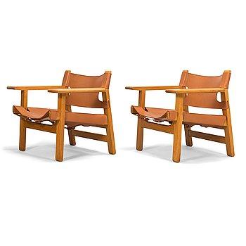 Børge Mogensen, A pair of 'Spanish chairs' for Fredericia Stolefabrik, Denmark.