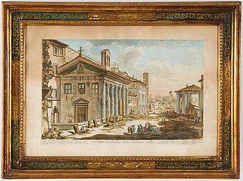 Giovanni Battista Piranesi, coloured etching. 1700s.
