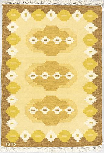 A carpet, flat weave, ca 233,5 x 164-165,5 cm, signed bd.