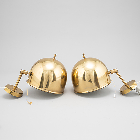 Eje ahlgren, a pair of brass wall lamps, model v-75, bergboms.