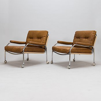 A pair of Swedish armchais from the latter half of the 20th century.