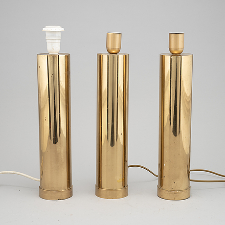 A set of three brass table lights from bergboms, 1970's.