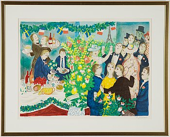 Lennart Jirlow, lithograph in colours, 1991, signed 97/125.