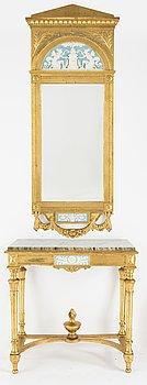 Spegel med konsolbord, gustaviansk stil, 1900-tal.