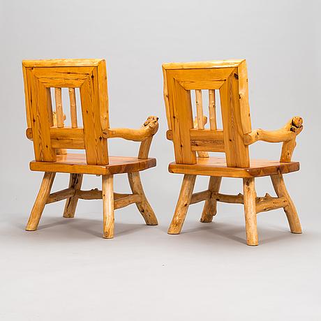 A pair of mid-20th-century armchairs made by tauno saarela kuusamo finland.