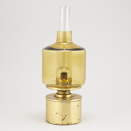 Hans-agne jakobsson, a brass and glass modell l47 oil lamp from markaryd.