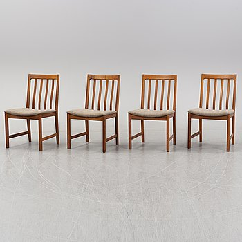 A set of four walnut chairs, 1960's/70's.