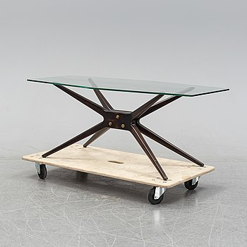 A stained wood and glass coffee table, probably Italy, 1950's.