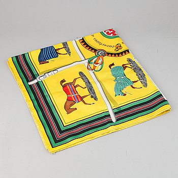 Hermès, a 'Couvertures et Tenues de Jour' silk scarf.