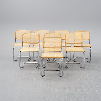 Eight tubular steel chairs, second half of the 20th Century.