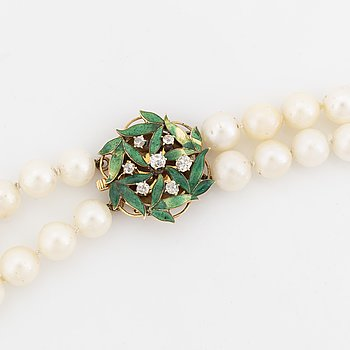 Cultured salt water pearl necklace, Claps 18K gold with enamel and old cut diamonds.