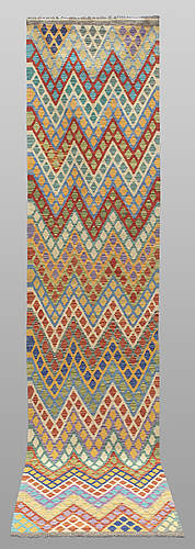 A runner, kilim, ca 397 x 88 cm.