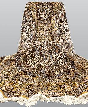 A carpet, Figural Silk Kashmir, ca 280 x 185 cm.