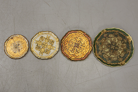 A set of 11 gilded italian trays from paoletti, firenze mid 1900s/second half.