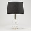 Carl fagerlund, a glass and metal table lamp, orrefors, second half of the 20th century.