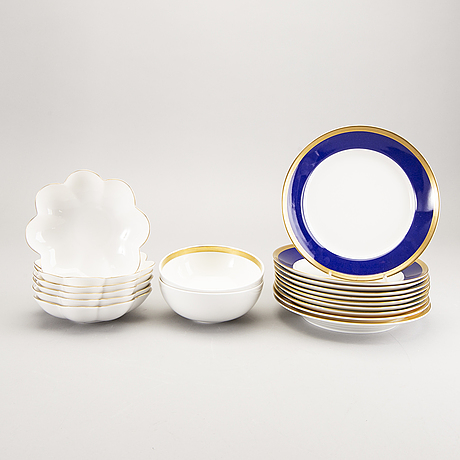 Karin björquist, a set of 18 pcs of nobelservisen rörstrand porcelain later part of the 20th century.