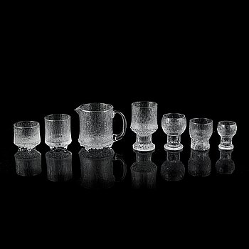 66 pieces of three different glass service models, Timo Sarpaneva and Tapio Wirkkala,  Iittala, Finland.