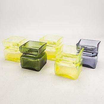 "Helena Tynell, vases 5 pcs ""Pala"" Riihimäen lasi, designed 1964."