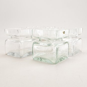 "Helena Tynell, vases 4 pcs ""Pala"" Riihimäen lasi, designed 1964."