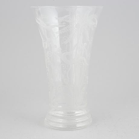 Edward hald, a glass vase, 'urskogen', orrefors, numbered 378.