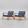 Folke ohlsson, a pair of teak 'usa 75' easychairs, dux, designed in 1963.