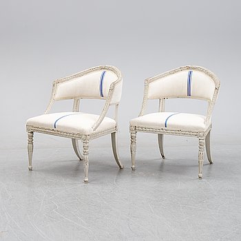 A pair of Late Gustavian armchairs from around  year 1800.