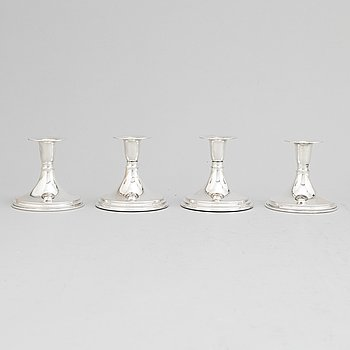 Four silver candlesticks, silver, Tesi Göteborg 1959, 1963.