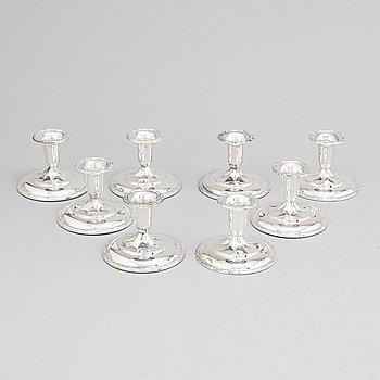 Thorvald Marthinsen, eight silver candle sticks. Sölvvarefabrik, Norway ,first half 1900's.