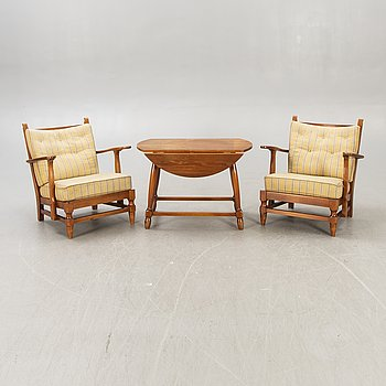 """A set of two """"Åre"""" armchairs and table by Gunnar Göpert 1940/50s."""
