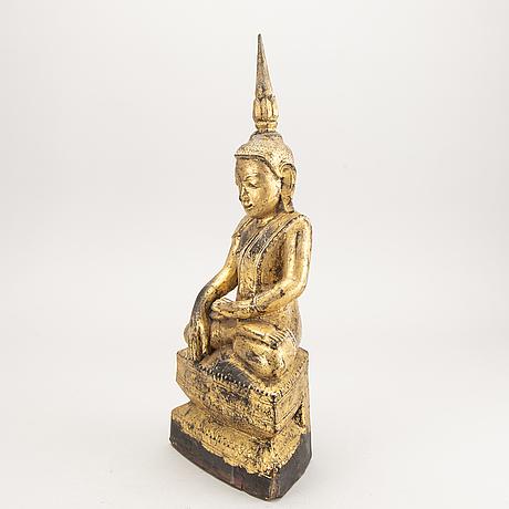 Wooden sculpture, gilded buddha, burma, 19th century.