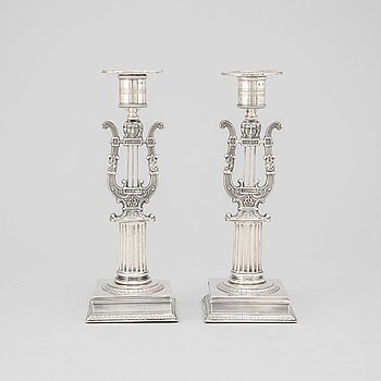 A pair of silver candle sticks by Adolf Zethelius, Stockholm 1821.