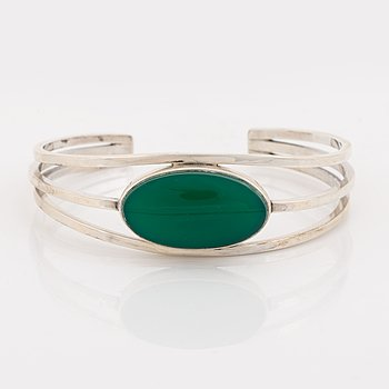 Niels Erik From, sterling silver and green stone bangle, Denmark.