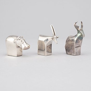 Gunnar Cyrén and others, three silver plated zinc figurines, Dansk Designs, Japan.