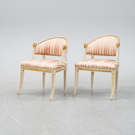 A pair of late gustavian armchairs, 19th century.