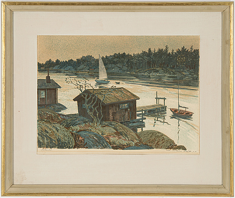 Roland svensson, lithograph in colours, signed pt.