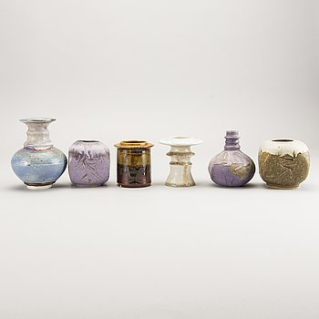 Carl Cunningham-Cole, a set of six signed stoneware vases.