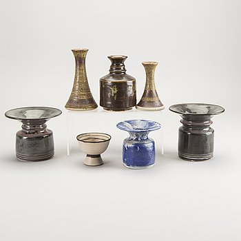 Carl Cunningham-Cole, a set of seven stoneware vases.