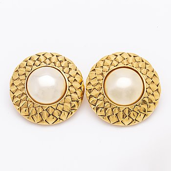 A pair of Chanel earrings, later part of the 20th century.