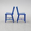 A pair of painted chairs by mats theselius for källemo, 1980's.