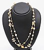 Chanel chain, metal and fake pearls, approx 115 cm, original case.