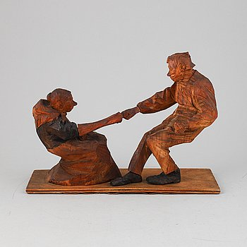 Axel Petersson Döderhultarn, sculpture. Signed and dated 1919. Wood, height 25 cm, length 36 cm.
