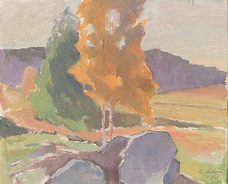 Werner åström, oil on panel, signed and dated-43.