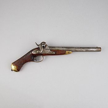 A smooth bored Swedish percussion pistol, 1850 pattern.