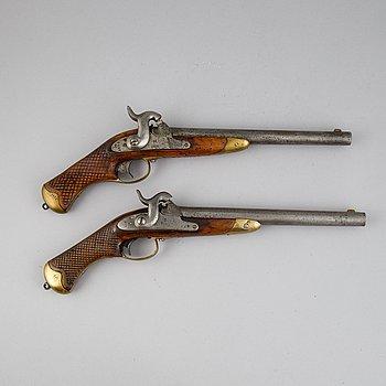 Two Swedish rifled percussion pistols 1850 pattern.