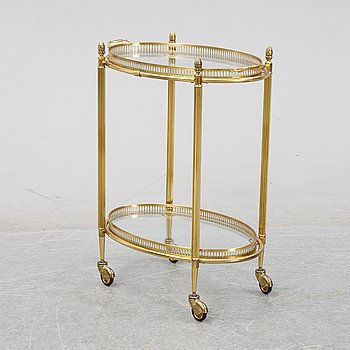 A brass and glass drinks trolley, second half of the 20th Century.