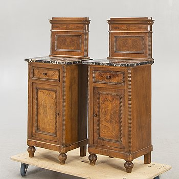 Bedside table / cupboard, a pair, first half of the 20th century.
